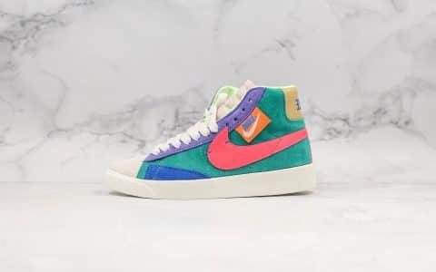 耐克Nike Blazer Mid公司级版本开拓者马卡龙配色拉链款2019新款女子解构拼色休闲高帮板鞋 货号:CQ7786-561