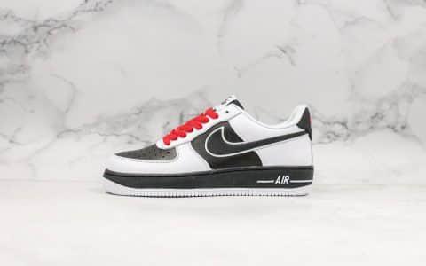 耐克Nike Air Force 1 Mid '07公司级版本低帮空军一号白黑红熊猫拼接内置原厂气垫官方同步RFID芯片原档案数据开发 货号:AQ3776-990