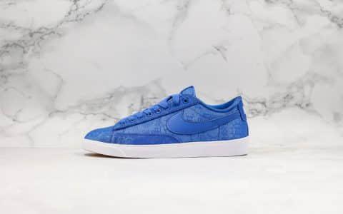 耐克Nike Blazer Low Le公司级版本低帮开拓者陈冠希联名款蓝丝绸表皮可刮原盒原标 货号:AV9374-281