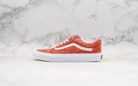 万斯Vans Old Skool低帮翻毛皮硫化板鞋红色公司级版本鞋身采用优质麂皮