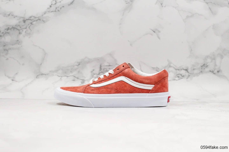 万斯Vans Old Skool低帮翻毛皮硫化板鞋红色鞋身采用优质麂皮
