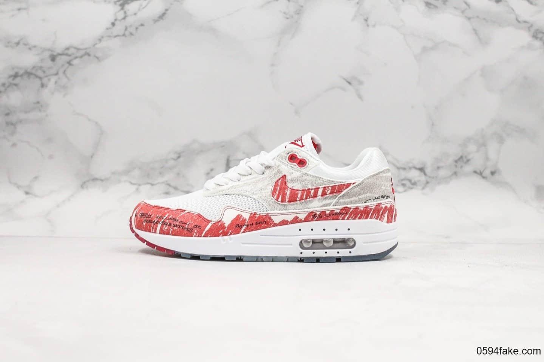 耐克Nike Air Max 1 Sketch Schematic公司级版本手绘涂鸦二次元红手稿黑线描绘小气垫