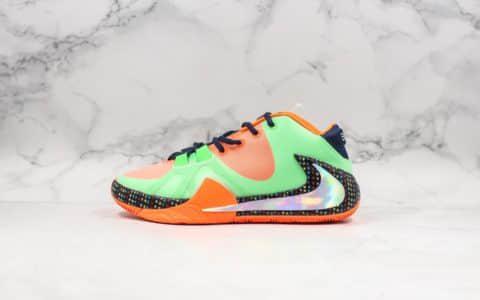耐克Nike Zoom Freak 1纯原版本字母哥一代签名篮球鞋绿橙色后张真双层ZOOM气垫实战篮球鞋 货号:BQ5422-308