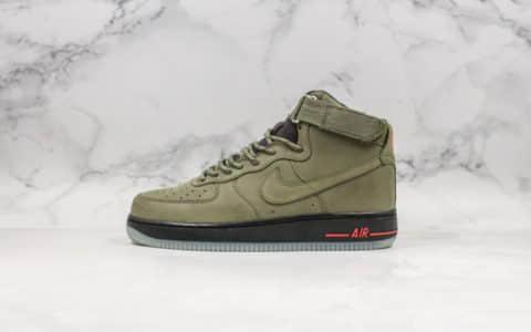 耐克Nike Air Force 1 High '07纯原版本高帮空军一号新版2019麂皮橄榄绿配色搭配同色系尼龙鞋带内置气垫 货号:CJ9178-200
