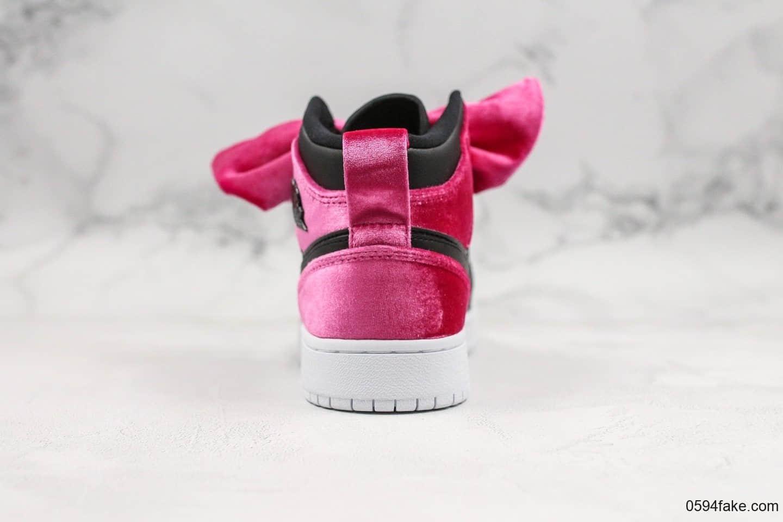 乔丹Air Jordan 1 Mid Bow中帮aj1丝绒蝴蝶结纯原版本原标原盒全新批次女子实战篮球鞋 货号:CK5678-006