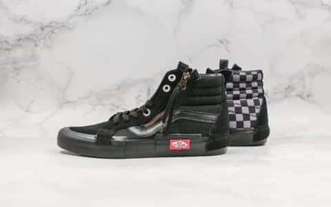 万斯Vans Vault Sk8-Hi Cap LX纯原版本解构主义高帮纯黑格子新一代解构鞋原档案数据开发鞋面翻毛皮材质