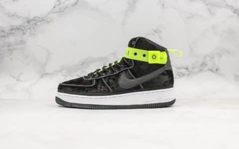 耐克Magic Stick x Nike Air Force 1 High空军一号联名款经典高帮板鞋丝绒黑荧光绿3M真标带半码原楦头纸板 货号:573967-003