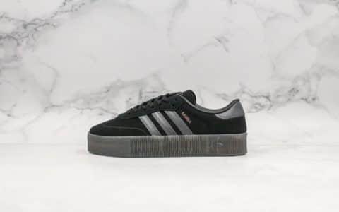 阿迪达斯Adidas Originals Samba Rose W公司级版本桑巴系列经典松糕鞋黑银配色增高板鞋平台专供进口头层皮版本 货号:G54523
