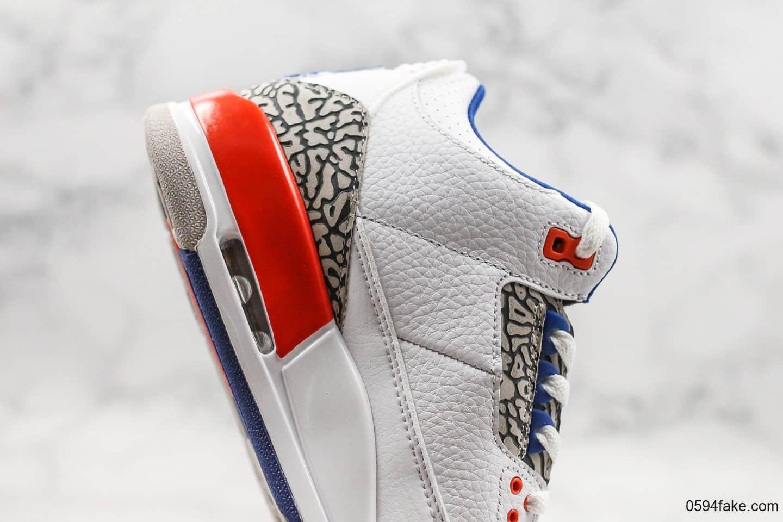 乔丹Air Jordan 3 Knicks纯原版本aj3尼克斯配色经典水泥灰爆裂纹内置透明可视气垫原档案数据开发 货号:136064-148