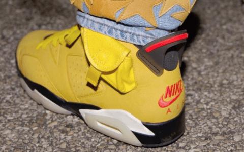 芥末黄鞋身!全新Travis Scott x Air Jordan 6上脚图曝光!