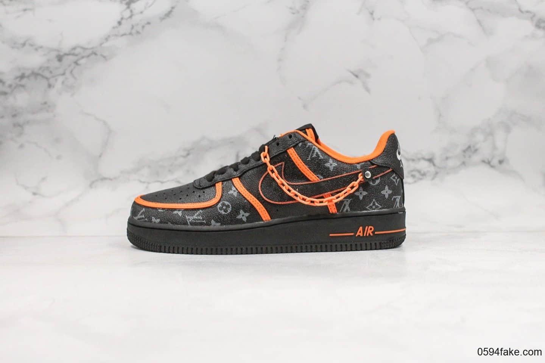 耐克Nike Air Force 1 Low纯原版本路易威登联名黑橘配色