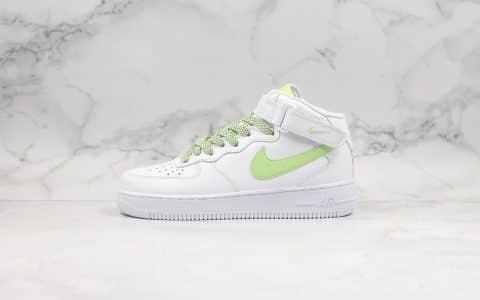 耐克Nike Air Force 1 '07 LV8纯原版本中帮空军一号3D白绿满天星内置全掌Sole气垫鞋面高清洁度 货号:366731-910