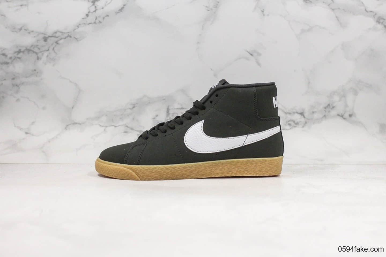 耐克Nike Blazer Mid公司级版本高帮开拓者板鞋黑生胶色青岛QT纯原鞋面原楦头纸板