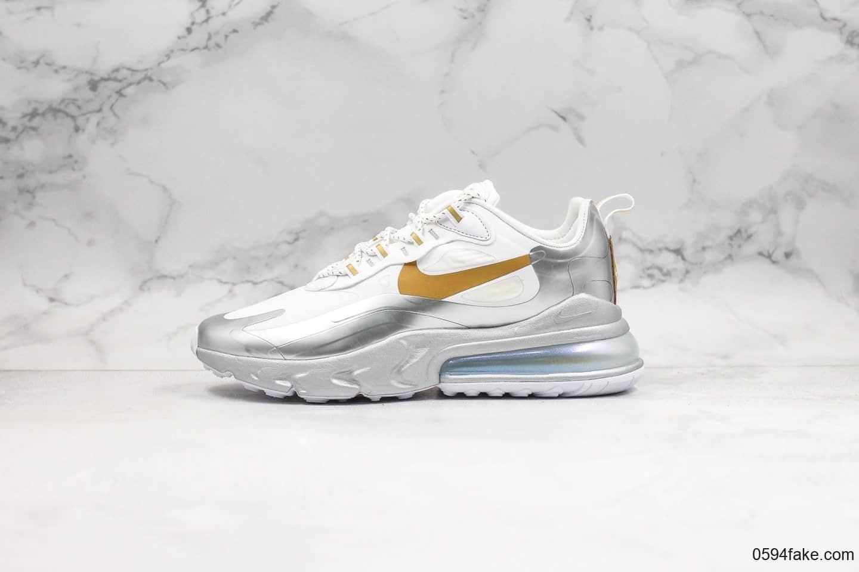 耐克Nike React Air Max 270纯原版本网纱系列机能半掌气垫跑鞋上海限定白银配色原