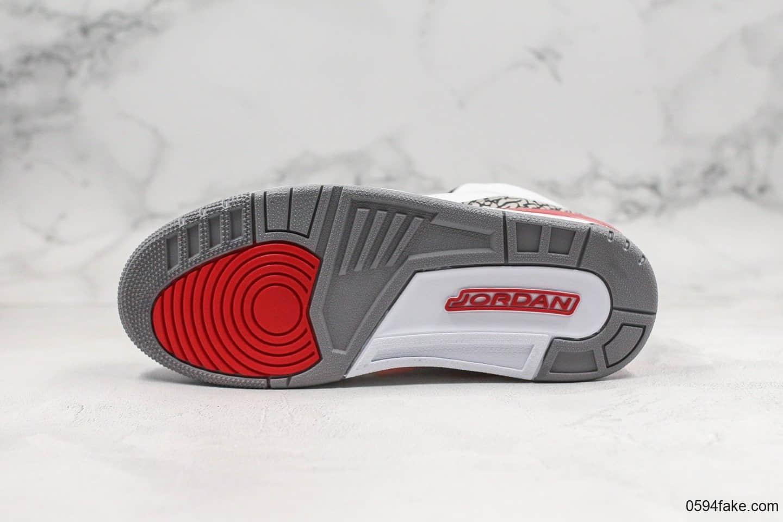 乔丹Air Jordan 3 Katrina纯原版本飓风爆裂纹AJ3原装进口皮料内置气垫原盒原标 货号:136064-116