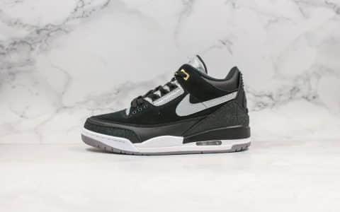 乔丹Air Jordan 3纯原版本黑白手稿AJ3黑水泥原厂钢印3M反光鞋面原档案数据开发支持实战 货号:CK4348-007