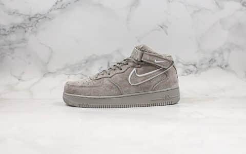 耐克Nike Air Force 1 Hi纯原版本中帮空军一号灰色麂皮限定配色内置全掌气垫原盒原标 货号:AA1118-003