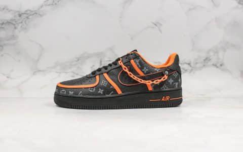 耐克Nike Air Force 1 07 SE纯原版本低帮空军一号LV联名款黑橙色内置全掌气垫正确头层皮革鞋面 货号:AQ4211-100