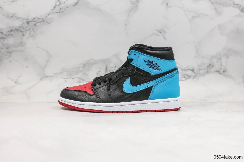 乔丹Nike Air Jordan 1 High OG WMNS UNC To Chicago纯原版本高帮AJ1红蓝配色正确荔枝纹头层皮鞋面材质 货号:CD0461-046