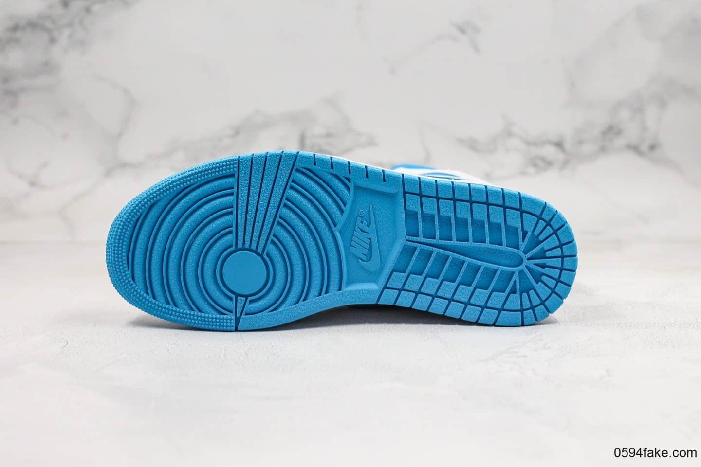 乔丹Air Jordan 1 Mid公司级版本中帮AJ1北卡蓝配色原厂原模大底正确鞋面皮料 货号:BQ6472-114