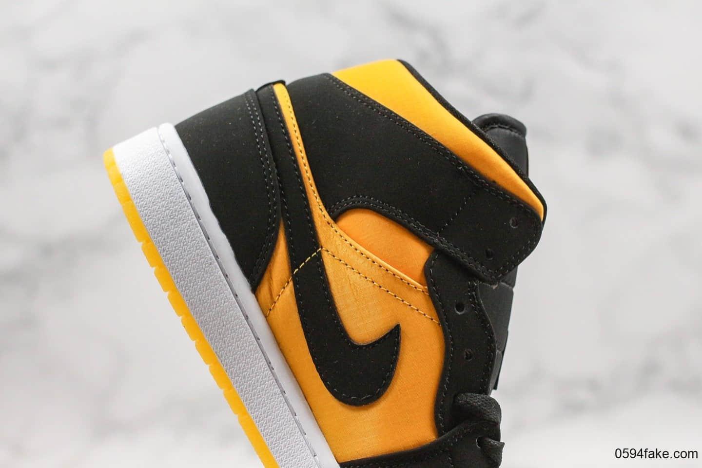 乔丹Air Jordan Mid公司级版本中帮AJ1黑橙丝绸大黄蜂原档案数据开发鞋面采用磨砂材质与丝绸拼接 货号:CD6759-007