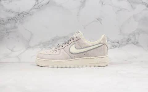 耐克Nike Air Force 1'07 PRM纯原版本低帮空军一号奶茶灰色内置Sole气垫原装头层麂皮鞋面 货号:AQ8741-101