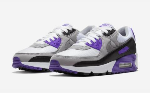 经典十足!Nike Air Max 90黑白紫OG元年配色明年回归! 货号:CD0490-103