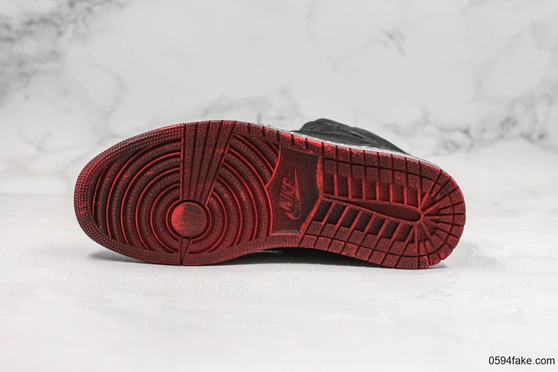乔丹Dover Street Market x CLOT x Air Jordan 1 Mid DSM Black纯原版本三方联名款AJ1黑红做旧丝绸内置Sole气垫原盒原标 货号:CU2804-002