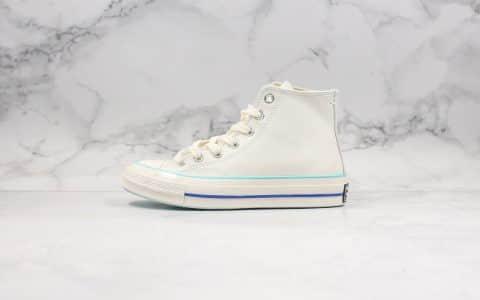 匡威Converse Chunk Taylor 70s公司级版本高帮皮面奶白蓝大学蓝硫化鞋正确硅蓝中底双围条包头 货号:563414C