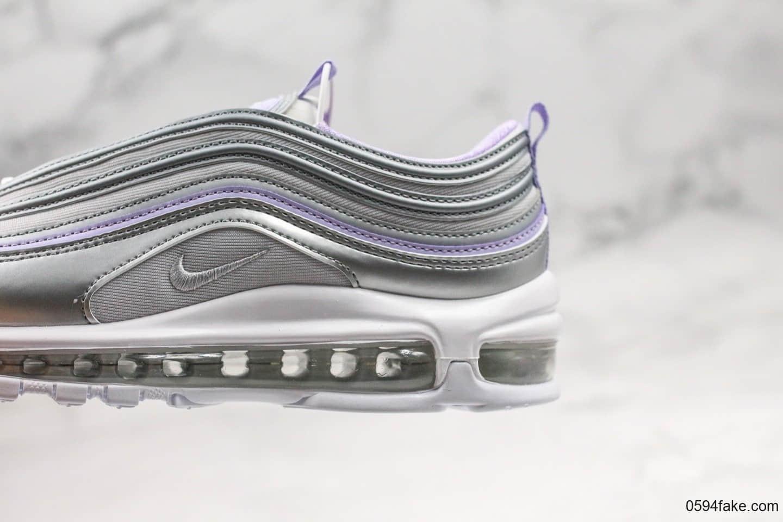 耐克Nike Air Max 97纯原版本复古子弹气垫鞋Max97银紫配色内置真实气垫原楦头原纸板打造 货号:CQ4806-015