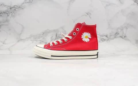 匡威Converse x PEACEMINUSONE公司级版本权志龙联名款小雏菊红色高帮帆布鞋原厂硫化大底正确硅蓝软中底