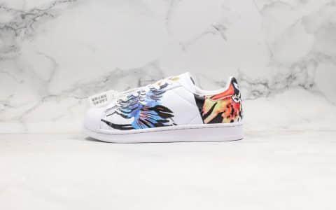 阿迪达斯Adidas Superstar II Chinese New Year纯原版本三叶草贝壳头中国风2020年鼠年限定水彩元素皮革白彩瑞兽仙鹤呈祥 货号:FW5351
