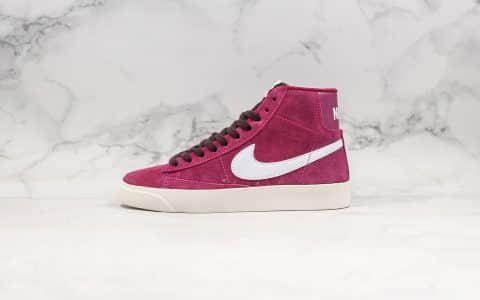 耐克Nike Blazer Mid Vintage Suede公司级版本高帮开拓者酒红白勾配色内置Zoom气垫原盒配件区别市面通货版本 货号:AV9376-601