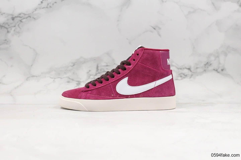 耐克Nike Blazer Mid Vintage Suede公司级版本高帮开拓者酒红白勾配色内置Zoom气垫原盒