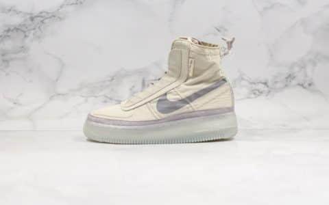 耐克Nike Air Force 1 Shell WMNS纯原版本高帮机能空军一号褶皱丝绸灰色原档案数据开发原盒原标 货号:BQ6096-002