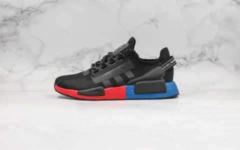 阿迪达斯Adidas NMD R1 Boost V2纯原版本二代3M变色龙NMD爆米花跑鞋黑红蓝配色内置Boost缓震大底原盒原标 货号:FV9023