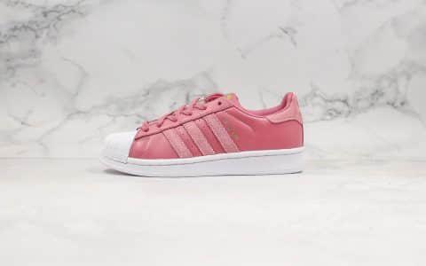 阿迪达斯Adidas Superstar纯原版本三叶草贝壳头黑红刺绣玫瑰粉正确硅蓝软中底全头层皮料鞋面 货号:EE7600