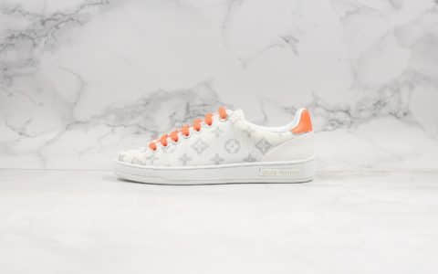 路易威登Louis Vuitton公司级版本LV板鞋小白鞋白橙杨幂关晓彤同款原版大底开模超软皮内里