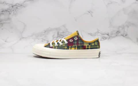 匡威Converse 70s Twisted Plaid公司级版本撞色格子系列低帮板鞋黄绿配色优质麂皮鞋舌