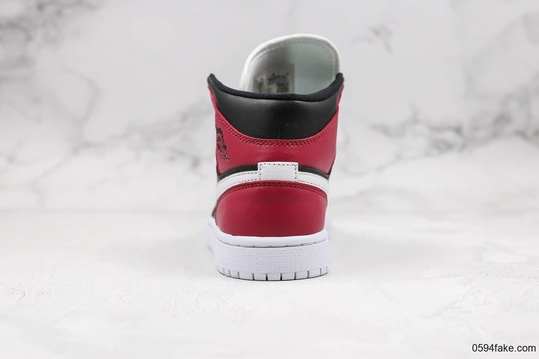 乔丹Air Jordan 1 Mid Noble Red纯原版本中帮AJ1酒红脚趾原盒原标区别市面通货版本内置气垫 货号:BQ6472-016