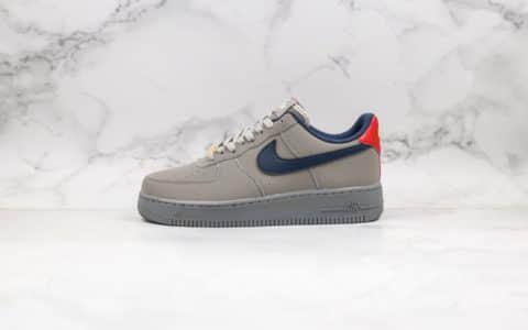 """耐克Nike Air Force 1纯原本本空军一号AF1海外定制版""""水泥灰""""红蓝鸳鸯勾配色原楦开发内置气垫 货号:BQ4329-002"""