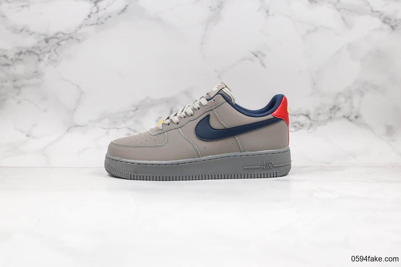 """耐克Nike Air Force 1纯原本本空军一号AF1海外定制版""""水泥灰""""红蓝鸳鸯勾配色原"""