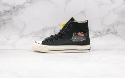 匡威Converse x Hello Kitty 2.0凯蒂猫联名高帮帆布鞋黑白配色正确硫化工艺蓝底双围条