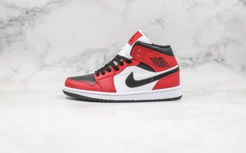 乔丹Air Jordan 1 Mid Chicago Black Toe纯原版本中帮AJ1芝加哥黑脚趾新黑红原盒原标原档案数据开发 货号:554724-069