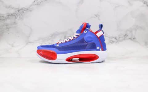 乔丹Air Jordan 34公司级版本实战篮球鞋AJ34红蓝白配色原装原盒包装 货号:BQ3381-123