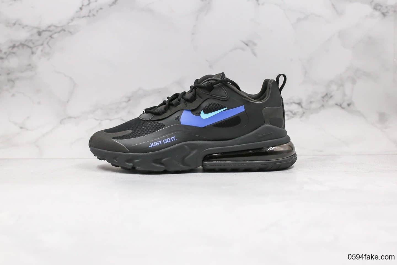 耐克Nike Air Max 270 React Bauhaus纯原版本瑞亚气垫鞋Max270黑蓝色内置真实气垫一比一