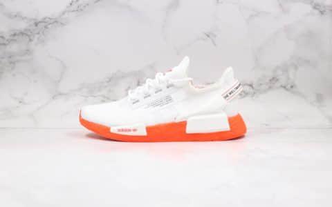 阿迪达斯Adidas NMD R-1 V2纯原版本街头风格NMD爆米花跑鞋白橙色原厂大底区别市面通货版本 货号:FX3902