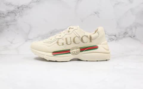 古驰Gucci Rhyton Vintage Trainer Sneaker纯原版本复古老爹鞋5D皮革角状一比一原材料打造内置防伪芯片