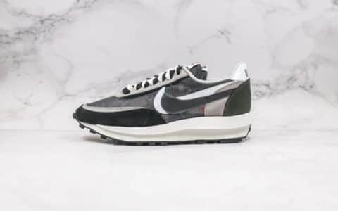 耐克Nike LDV Waffle x Sacai联名款纯原版本华夫重叠设计双钩跑鞋黑灰色原盒原标正确鞋面材质 货号:BV0073-001
