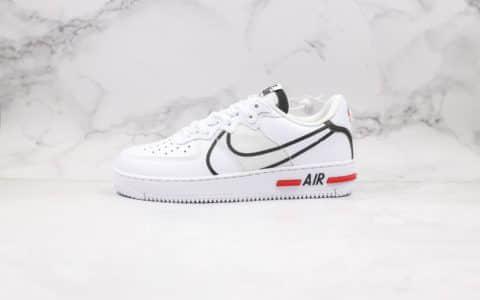 耐克Nike AIR FORCE 1 REACT WHITE D MS X纯原版本低帮空军一号白黑红波浪正确React缓震大底原盒原标 货号:CD4366-100